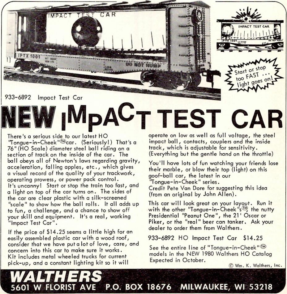 Walthers impact test car released in 1979
